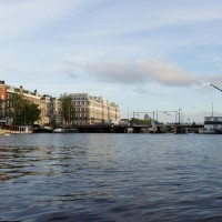 Amstel Hotel and bridge construction