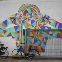 Beautiful street art on a wall in an abandoned tram center.
