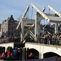 Magerebrug opening for the ship of Sinterklaas.