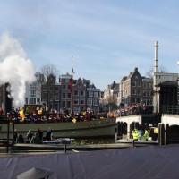 The steamboat fo Sinterklass passing the Skinny bridge (Magerebrug), Amsterdam