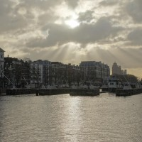 Beautiful light over the sluizes and Amstel, looking south towards the Phillips building