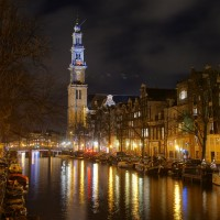 Long HDR exposure of the Westerkerk on the Prinsengracht from the Reestraat bridge