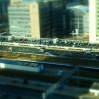 Miniature cars on the motorway at Station Zuid Amsterdam