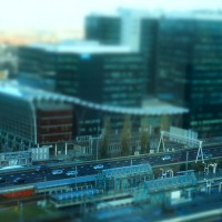 Miniature train station and World Trace Center at Station Zuid Amsterdam