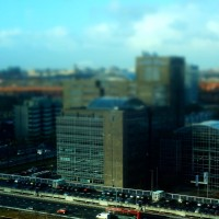 Miniature train and buildings at Station Zuid Amsterdam