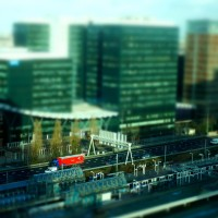 Miniature trucks on the motorway at the World Trade Center, Station Zuid Amsterdam
