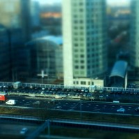 Miniature buildings, cars and motorway at Station Zuid Amsterdam