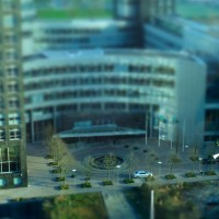 Miniature buildings and plaza at Station Zuid Amsterdam