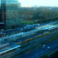 Miniature trains and World Trade Center at Station Zuid Amsterdam
