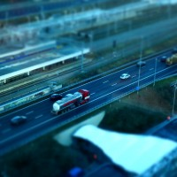 Miniature truck on the motorway at Station Zuid Amsterdam