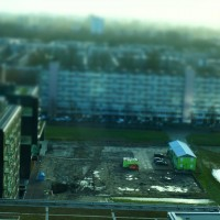 Miniature construction site at Station Zuid Amsterdam, looking south to Amstelveen