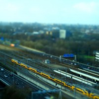Miniature train and tracks at Station Zuid Amsterdam