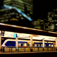 Miniature train at Station Zuid Amsterdam with Vinoly building behind