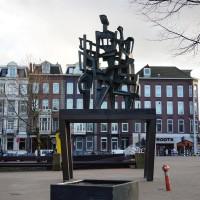 Public sculpture in front of the Nederlande Bank building
