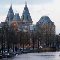 Spires of the Rijksmuseum as seen from the Albert Cuypstraat bridge over the Boerenwetering