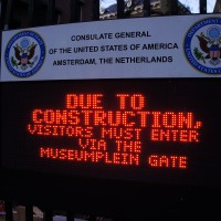 You have to cross a moat to enter the Embassy. I'm not making that up.