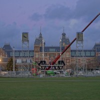 New Year's concert stage deconstruction on the Museumplein behind the Rijksmuseum
