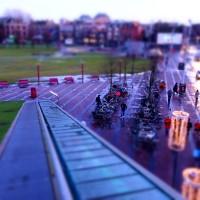 Miniature bike parking from the roof of Albert Heijn