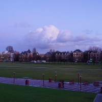 Clouds over the Museumplein behind the Rijksmuseum and Van Gogh museums.