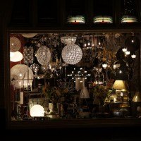Shop window full of lamps