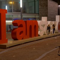 "New ""Vodafone"" version of the iconic ""I Amsterdam"" sign in front of the new Mint Hotel"