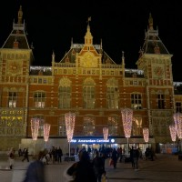 Festive looking Centraal Station with NO construction barriers