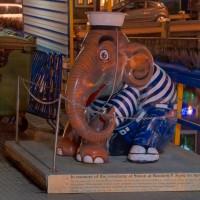 """Simon"" on a tourboat dock on the Damrak. http://www.elephantparade.com"