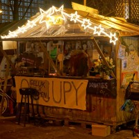 Festive Information center of the Occupy camp on the Beursplein