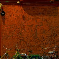 "Closeup of ""In naam van Oranje"" grafitti piece near the Rembrandtplein."