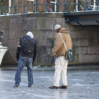 Tourists lost on the Nieuwe Prinsengracht ice.