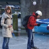 Students skating on the Nieuwe Prinsengracht