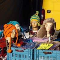 Steven King's knitted hat display on the Waterlooplein