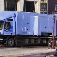 Dutch view, generator truck outside the opera house.