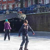 Kids enjoying the last bit of ice.