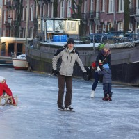 Family skating together.