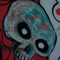 Graffiti skull with a Jackson Pollock touch, Den Haag