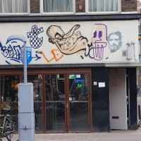 Graffiti on a coffee shop