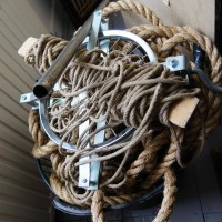Block and tackle, ropes, used to lift stuff into a canal house.