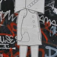 Boxhead wheatpaste random street art.