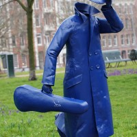 The invisible man has been painted blue