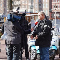 Cition manager talking to AT5 TV news crew.