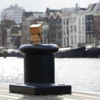 It's a better view of the Amstel from up here on the boat pylon.