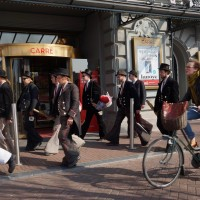 Dutch lady speeding past the group of Journeymen at Carre'