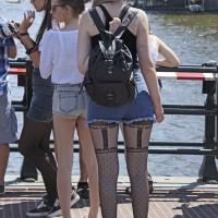 Beautiful and flexible Polish girl sporting unusual stockings