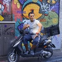 Handsome dude on his motor bike