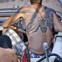 Sporting a huge tattoo