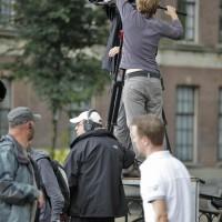 TV crew preparing for rain