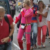 A pink superhero