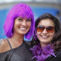 Incredibly beautiful lady with electric purple hair